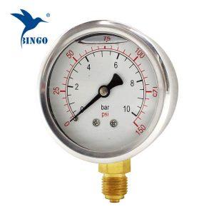 60 mm-es rozsdamentes acél tok sárgaréz csatlakozás alsó típusú nyomásmérő 150 db olaj töltött nyomásmérő